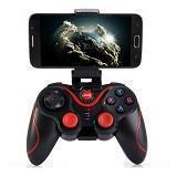 Wireless Bluetooth Gamepad Gaming Controller with Handle Mount for Android Smartphone Smart TV (Black)