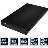 Sabrent Ultra Slim 2.5-Inch SATA to USB 2.0 External Aluminum Hard Drive Enclosure EC-UK25 (Black)