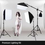 PHOTO STUDIO PHOTOGRAPHY 3 SOFTBOX LIGHT STAND KIT DE ILUMINACIÓN CONTINUA 2400W
