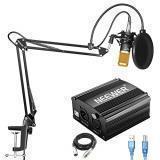 KIT DE MICRÓFONO DE CONDENSADOR NEEWER NW-800, con fuente de alimentación Phantom USB de 48 V, soporte de brazo de suspensión NW-35, montaje antichoque, filtro pop para grabación de estudio en el hogar Difusión YouTube Live Periscope (negro y dorado)