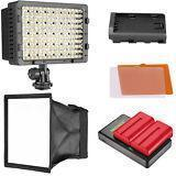 CN-160 Camera LED Video Light Diffuser Li-ion Battery with Charger Kit for Canon