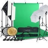 VBESTLIFE KIT DE ESTUDIO DE FOTOGRAFÍA, soporte de fondo softbox set de iluminación de paraguas