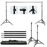 White Muslin Background Screen Backdrop Support Stand Photo Studio Kit NEW US