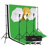 PHOTO STUDIO LIGHTING PHOTOGRAPHY 3 BACKDROP STAND MUSELINA LIGHT KIT JUEGO DE PARAGUAS