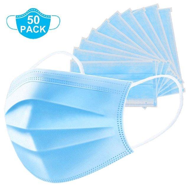 50 piezas de máscara protectora de 3 capas de EE. UU.