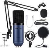 ZINGYOU ZY-007 - MICRÓFONO CONDENSADOR DE ESTUDIO CARDIOIDE PROFESIONAL, con suspensión ajustable, soporte de brazo de tijeras, montaje de choque y filtro pop, grabación y emisión de estudio, Azul