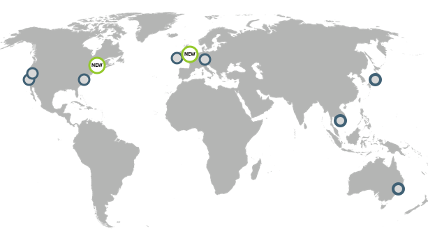 Map of supported AWS regions
