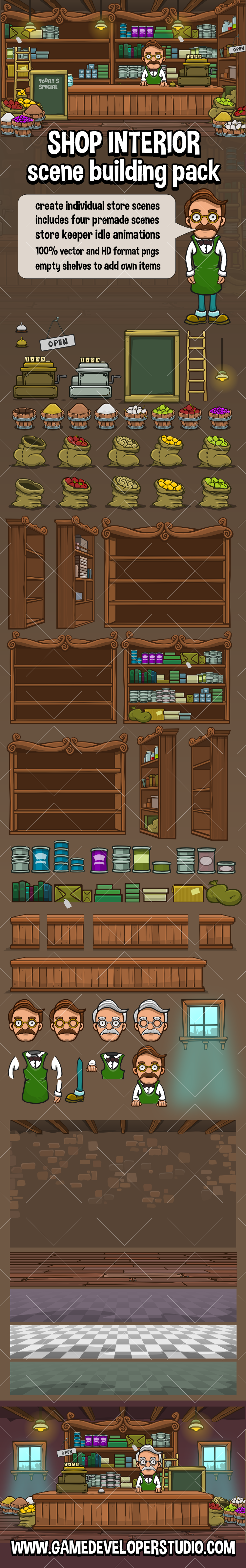 2d Shop interior scene construction kit