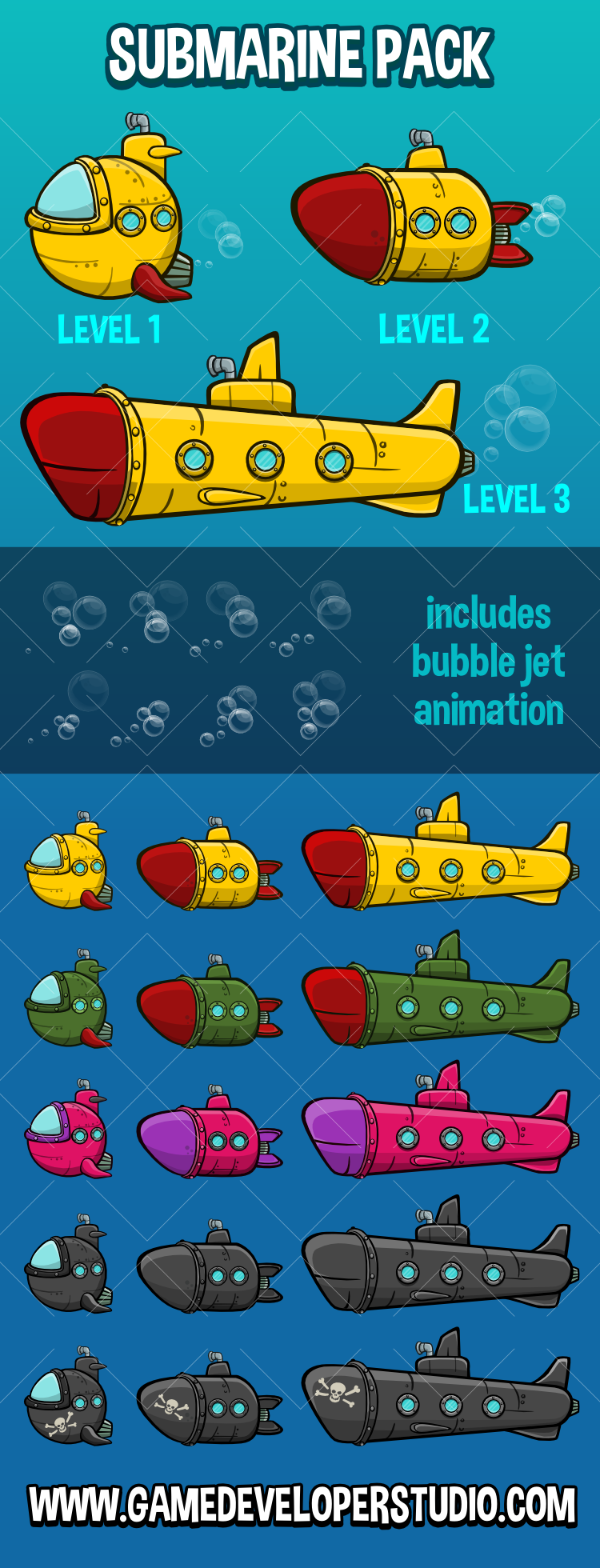 2d submarine game asset