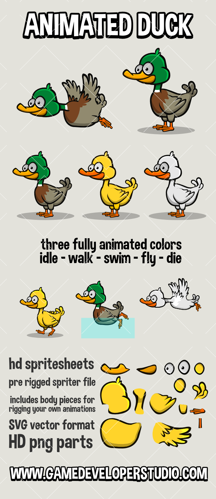 Animated 2d cartoon duck game asset
