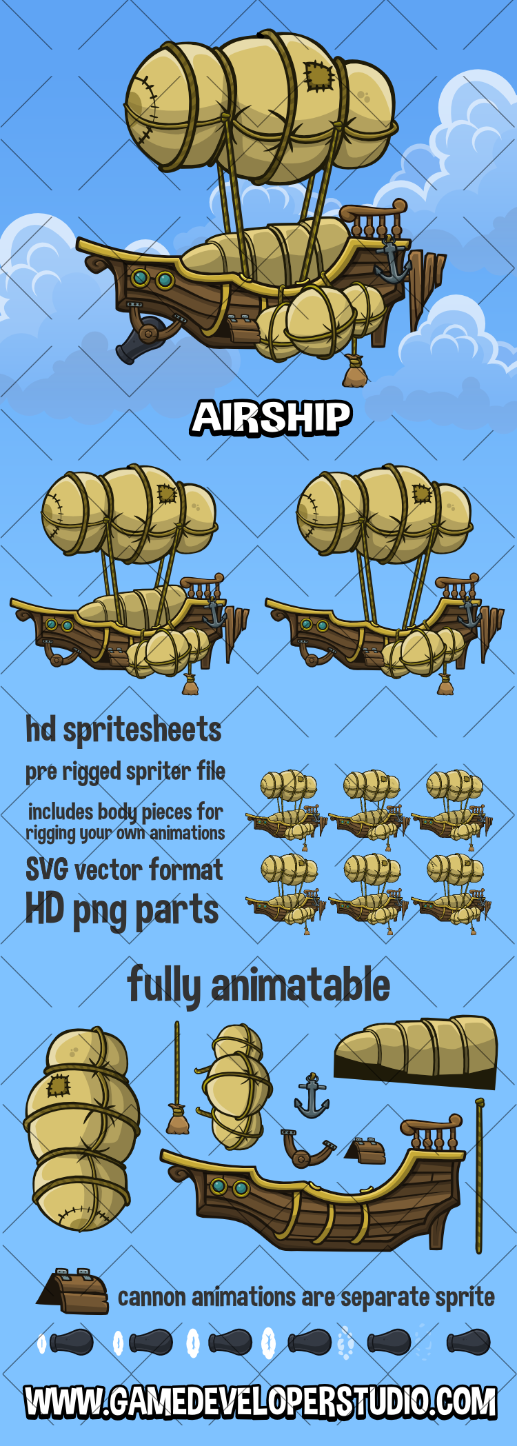 Animated airship 2d game asset