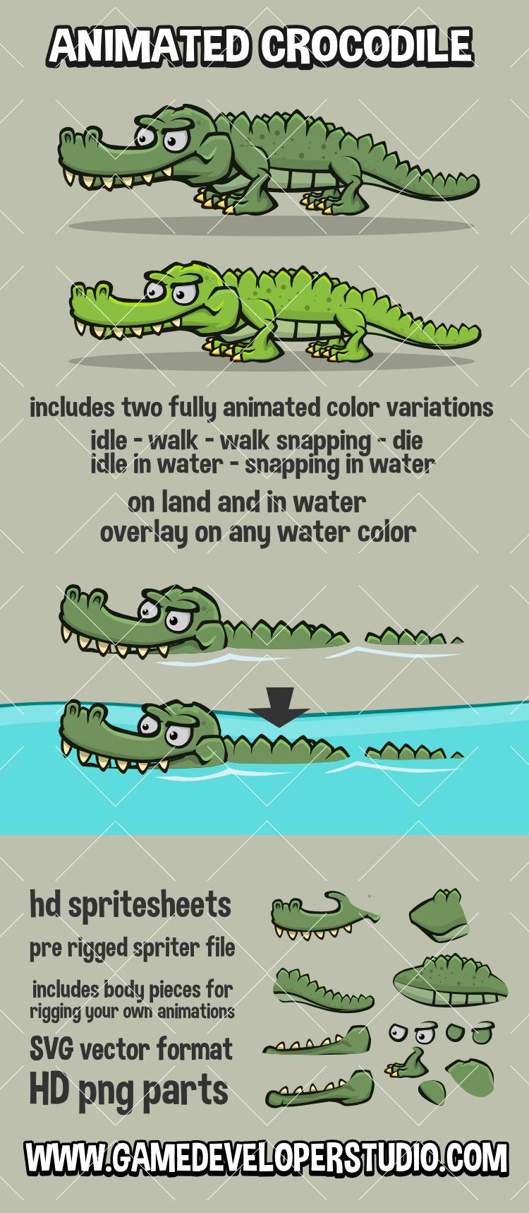 Animated crocodile game asset