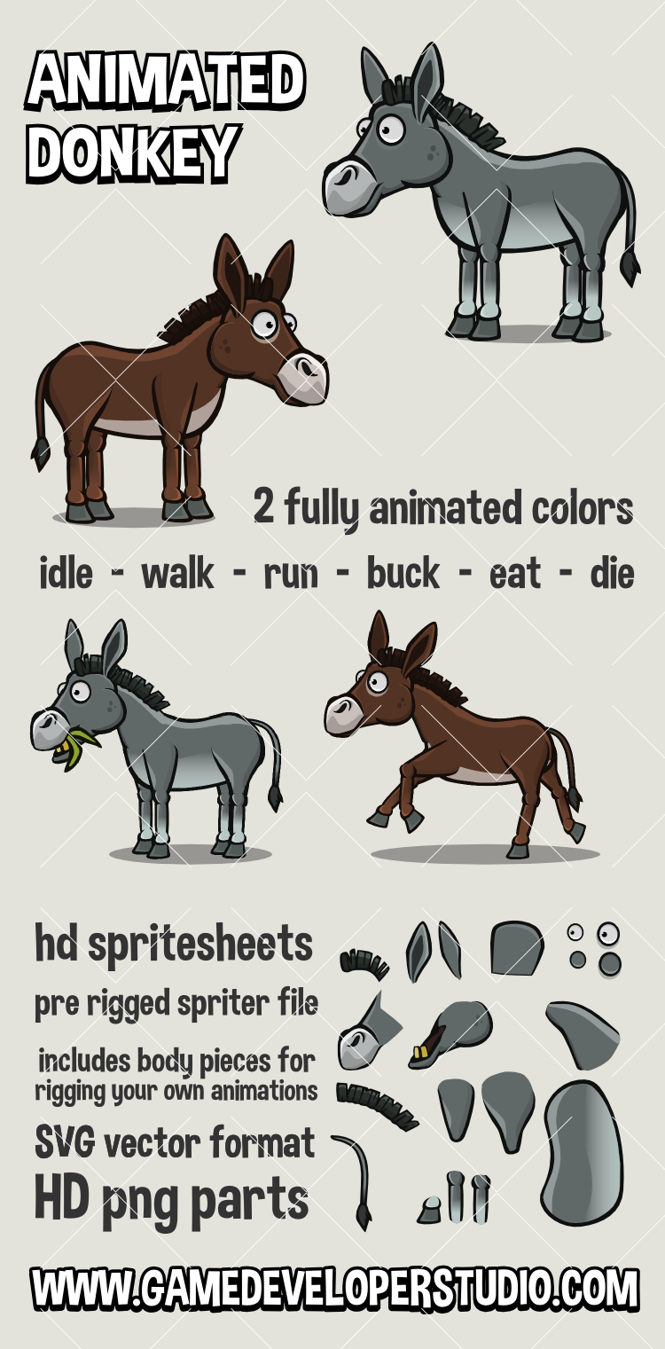 Animated donkey game sprite