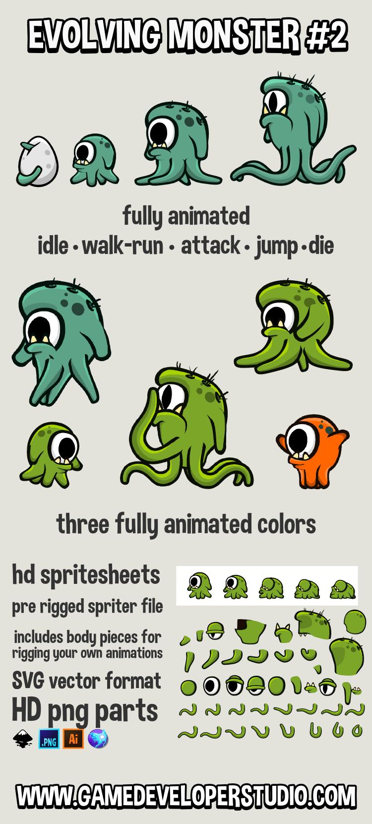Animated evolving monster game asset