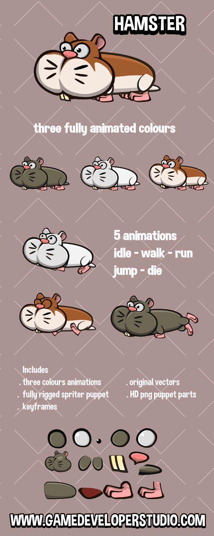 Animated hamster 2D game character