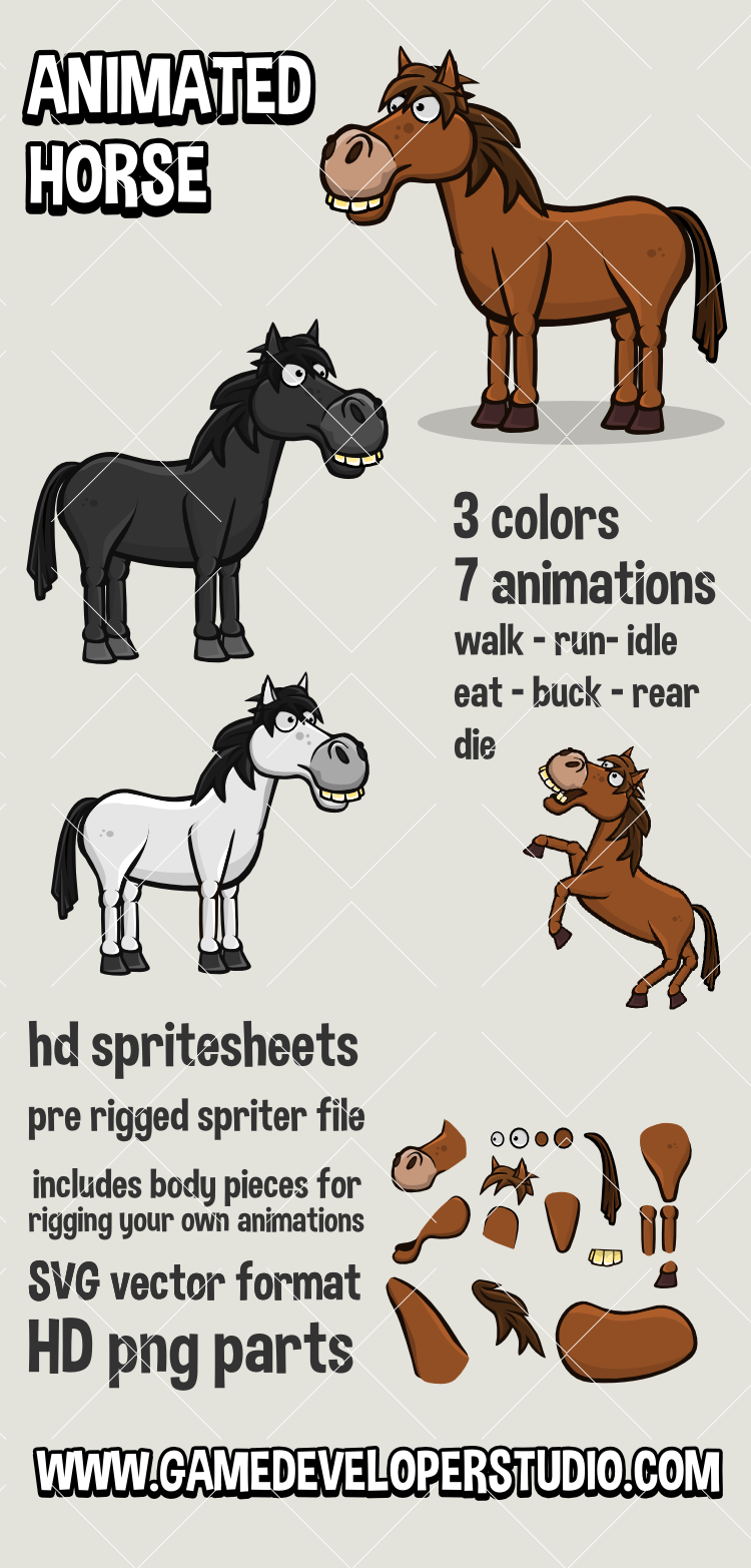 Animated horse 2d game asset