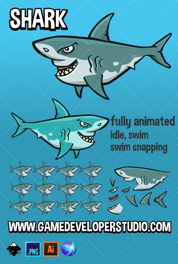 Animated shark sprite