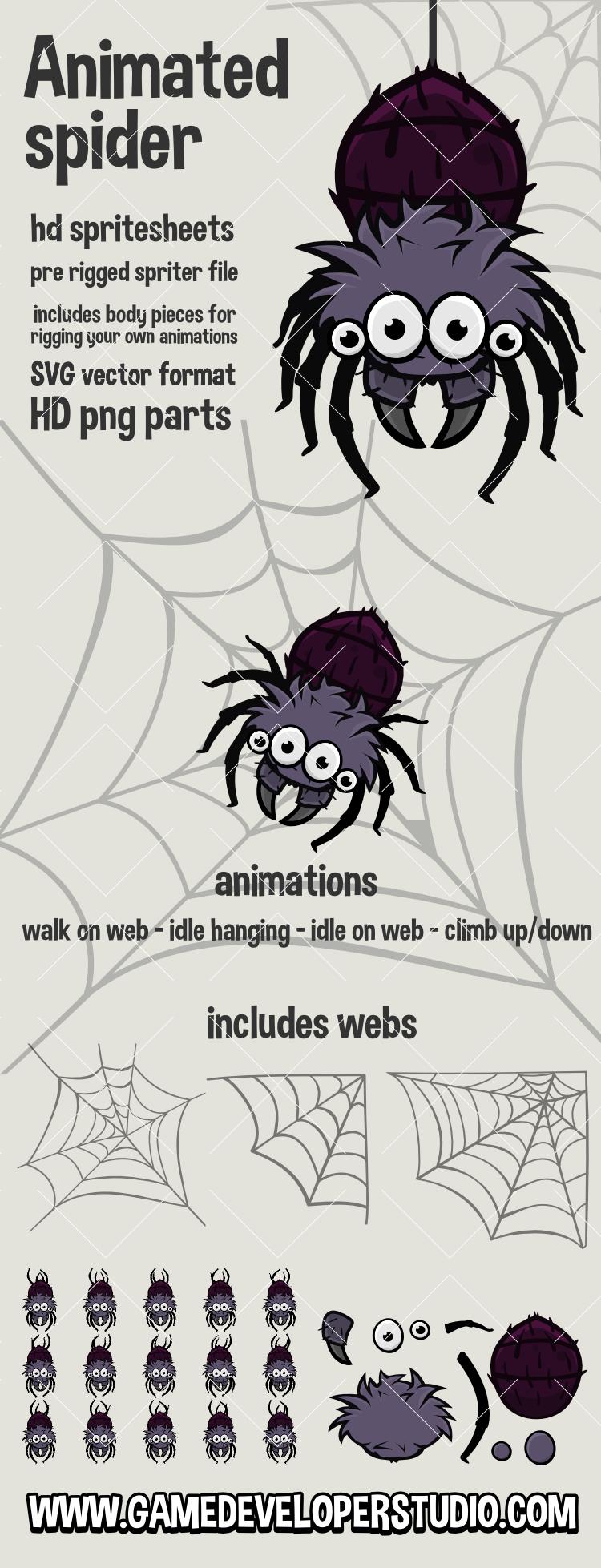 Animated spider game sprite