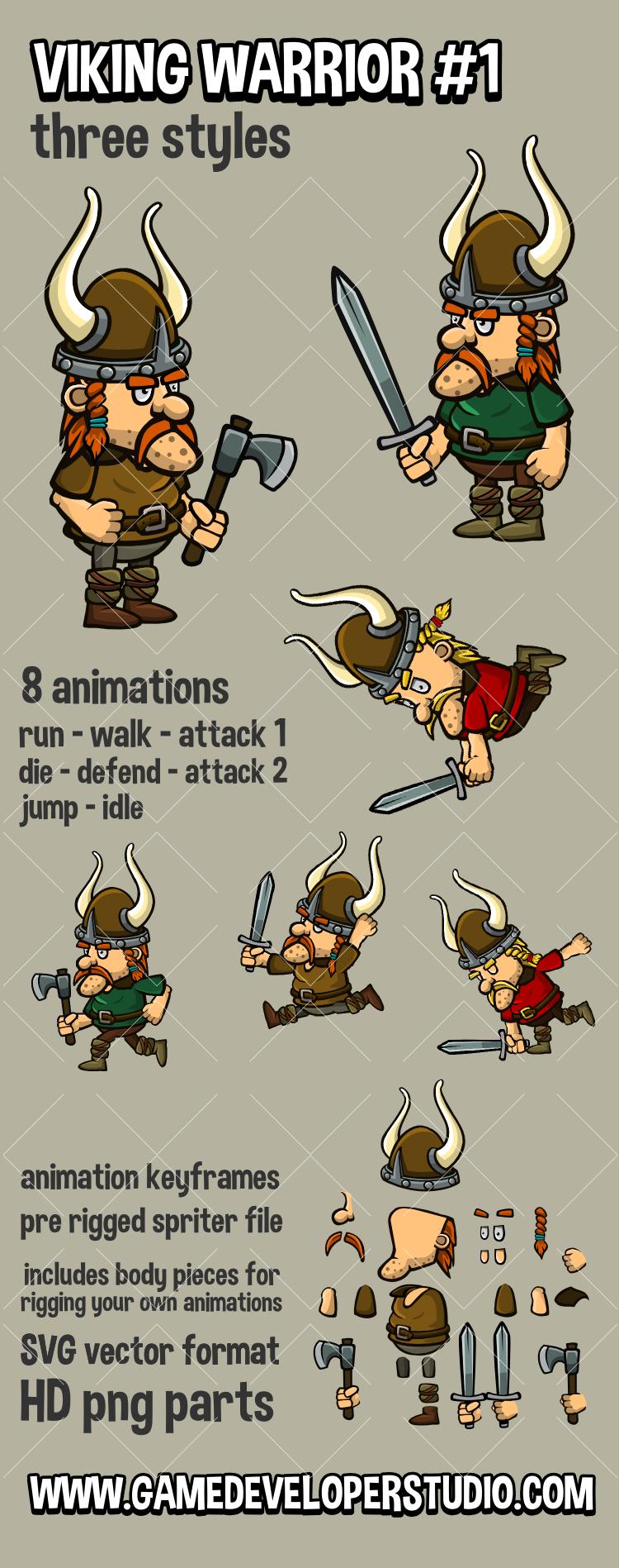 Animated viking game sprite one