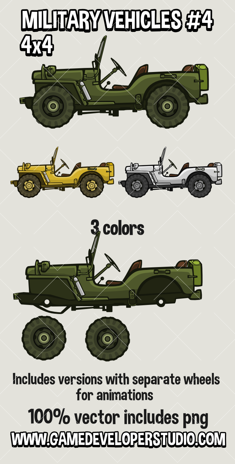 Cartoon Military vehicle  2d game asset