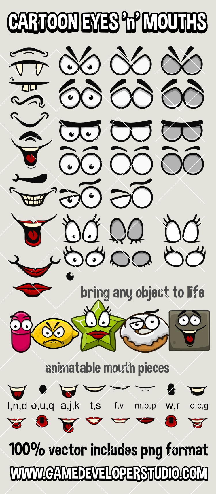 Cartoon eyes and mouths