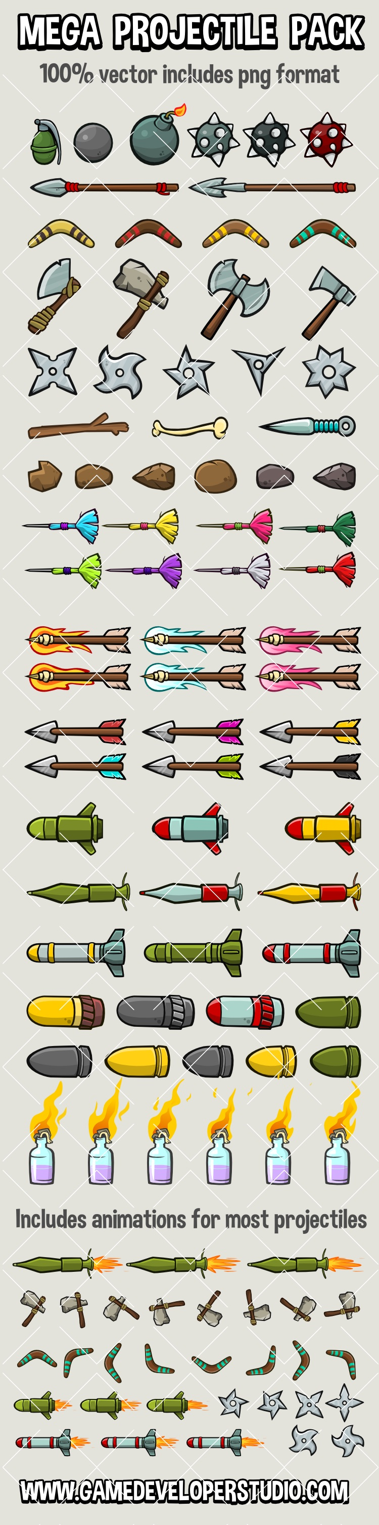 Projectiles for 2d games mega pack