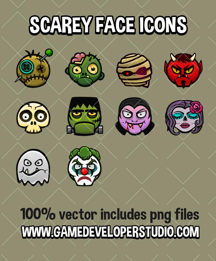 Scarey  face icons
