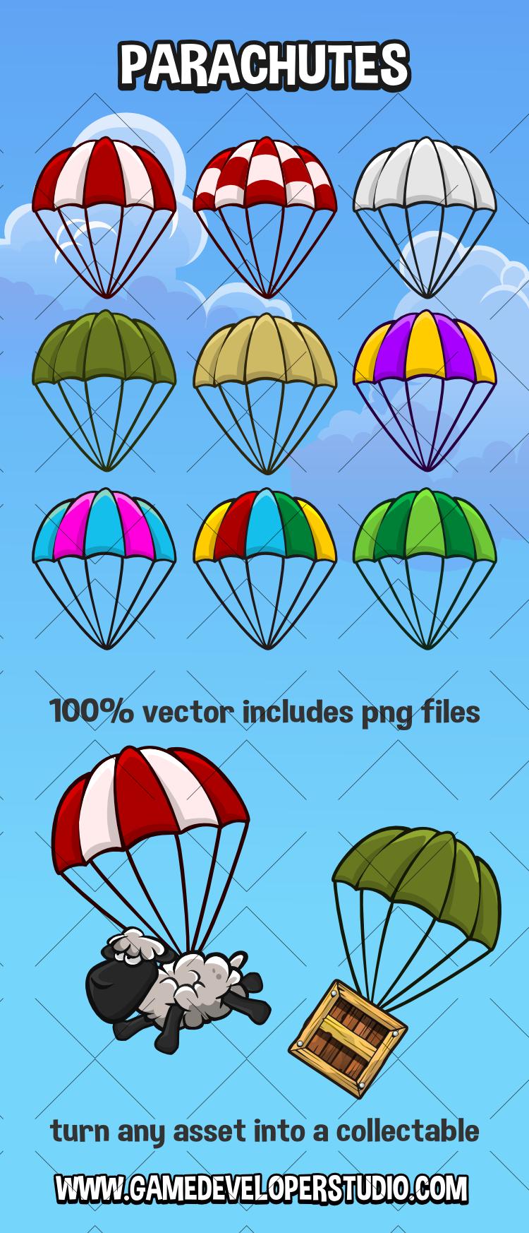 parachute 2d game asset