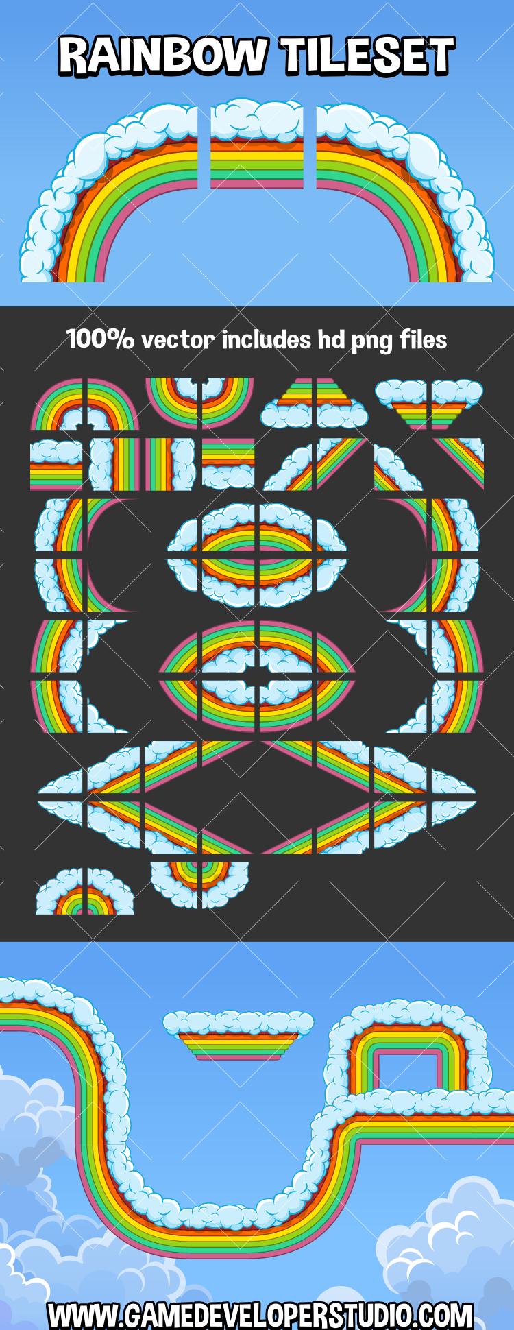rainbow tile set for sd game development