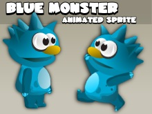 Animated blue monster