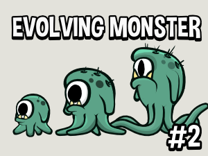 Animated evolving monster game asset
