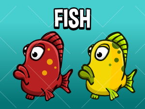 Animated fish game sprite