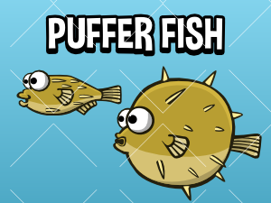 Animated puffer fish game sprite