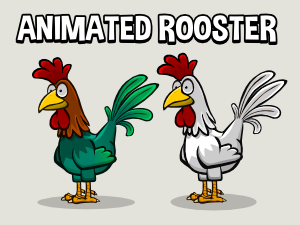 Animated rooster game asset