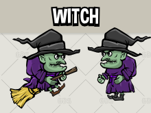 Animated witch 2d game asset