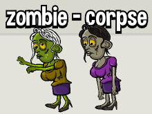 Animated female zombie and corpse