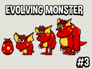 Evolving monster 2d game asset