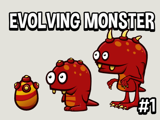Evolving monster game asset