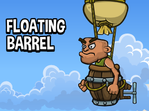 Floating barrel with enemy bomber game sprite