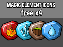Four magical element icons