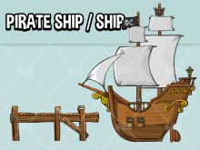 Pirate ship and normal ship game asset