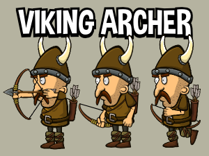 Viking archer 2d animated game character