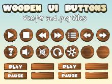 Wooden UI buttons