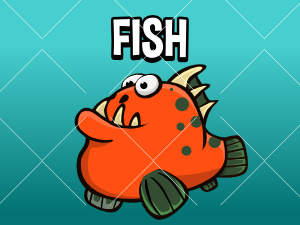 animated cartoon fish game asset