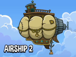 fully animated 2d airship game asset