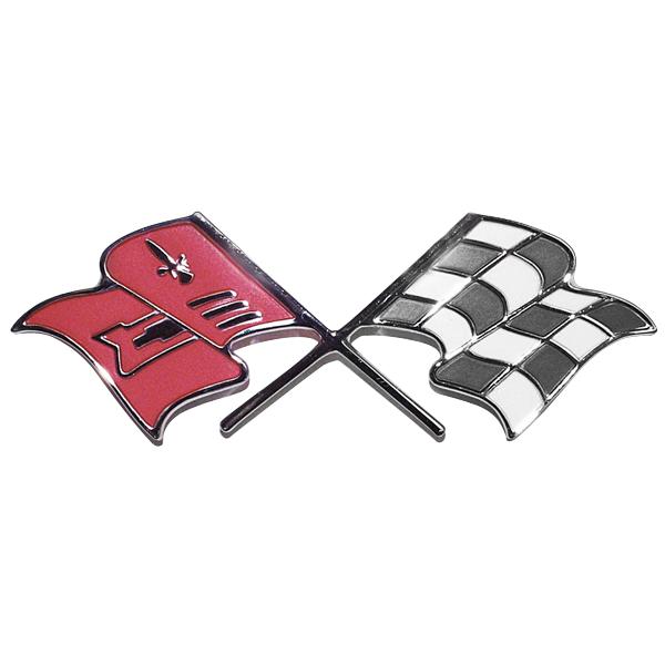 1955-57 Chevy -- Body / Emblems - Nameplates / Cross Flag Emblems /