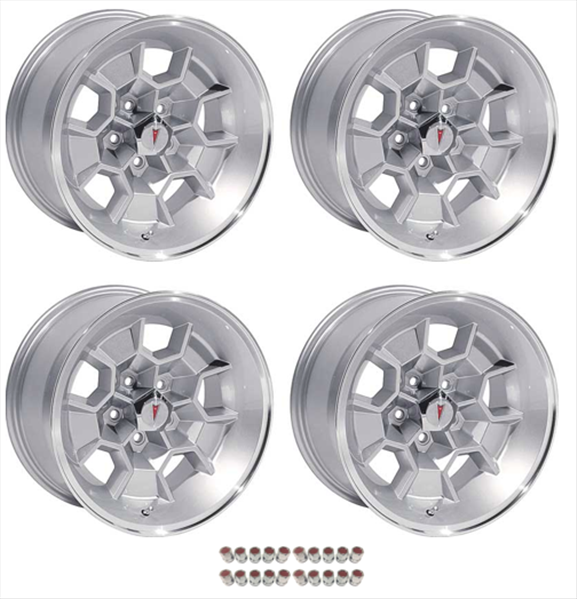 17 X 9 cast aluminum Honeycomb wheel with 5.125 backspacing. Set of 4 with red insert 7/16 bulge lug nuts and center caps.