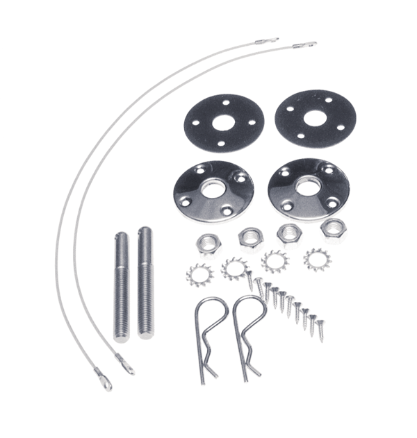 Hood pin kit, 25 cables for steel hood, reproduction.
