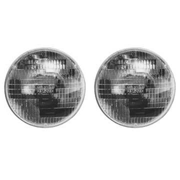 Headlight pair, 7 round Hi/Lo halogen light for 2-headlight systems, aftermarket.