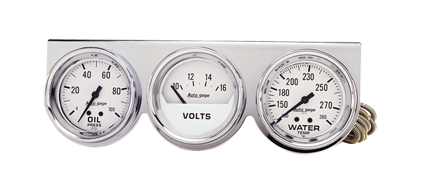 Oil/water/volt gauge console with chrome panel and 2-5/8 white face.